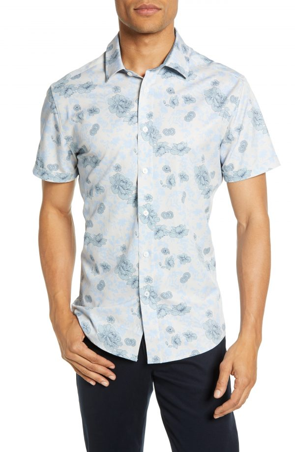 Men's Vince Camuto Slim Fit Floral Print Knit Sport Shirt, Size X-Small - Beige