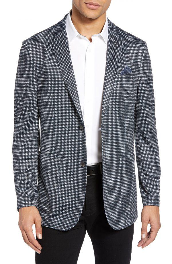 Men's Vince Camuto Slim Fit Print Mesh Sport Coat, Size X-Small - Black
