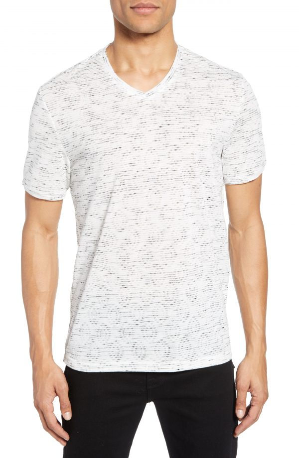 Men's Vince Camuto Slubbed Slim Fit V-Neck T-Shirt, Size X-Small - Grey