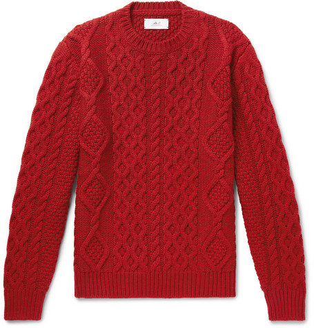 Mr P. - Cable-Knit Merino Wool and Cashmere-Blend Sweater - Men - Red