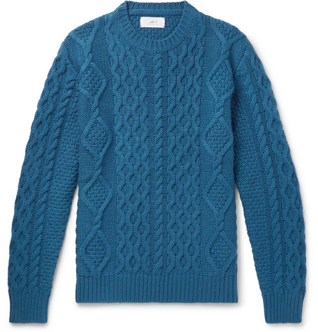 Mr P. - Cable-Knit Merino Wool and Cashmere-Blend Sweater - Men - Teal