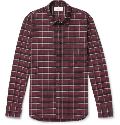 Mr P. - Checked Brushed Cotton-Flannel Shirt - Men - Red