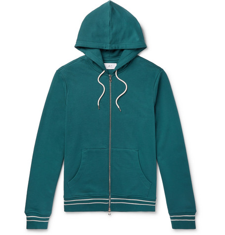 Mr P. - Contrast-Tipped Loopback Cotton-Jersey Hoodie - Men - Teal