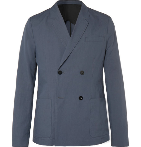 Mr P. - Dark-Blue Unstructured Double-Breasted Linen and Cotton-Blend Suit Jacket - Men - Blue