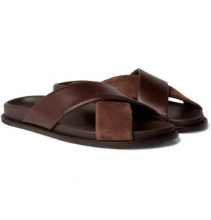 Mr P. - Leather and Suede Slides - Men - Brown