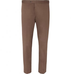 Mr P. - Slim-Fit Cotton-Twill Cropped Trousers - Men - Brown