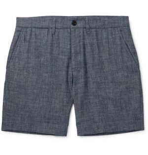 Mr P. - Slim-Fit Selvedge Cotton-Chambray Shorts - Men - Navy