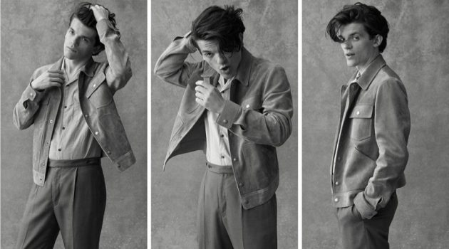 A smart vision, Edward Bluemel dons a Tom Ford suede trucker jacket, Brunello Cucinelli camp-collar shirt, and Camoshita trousers.