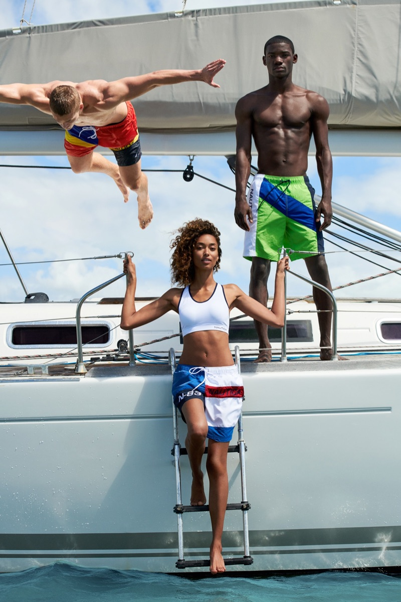 Models Mitchell Slaggert and Valentine Rontez come together for Nautica's summer 2019 campaign.