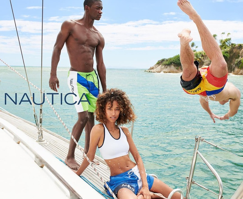 Soaking in the rays of summer, Valentine Rontez, Anaïs Mali, and Mitchell Slaggert front Nautica's campaign.