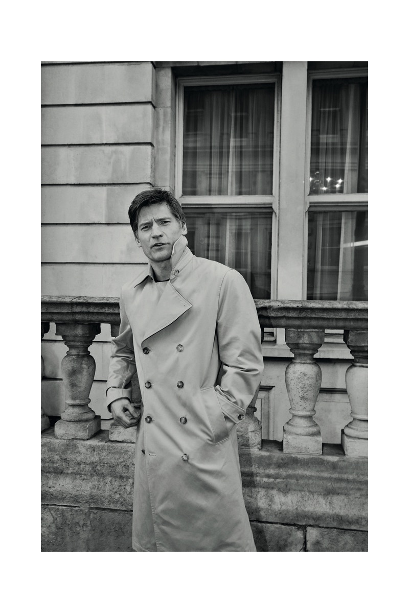 Actor Nikolaj Coster-Waldau dons a trench coat by Sunflower.