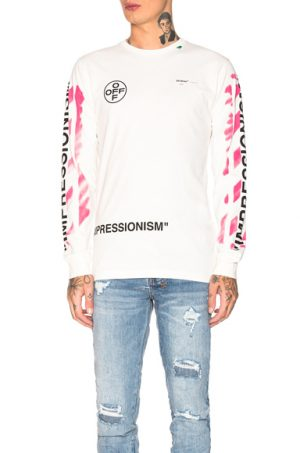 OFF-WHITE Diagonal Stencil Longsleeve Tee in Pink,White. - size L (also in M,XL)