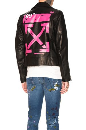 OFF-WHITE Leather Biker in Black,Pink. - size XL (also in S)
