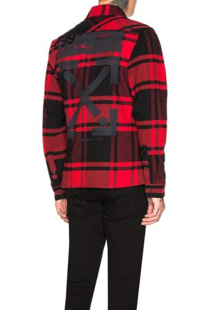 OFF-WHITE Stencil Flannel Shirt in Black,Plaid,Red. - size S (also in L)