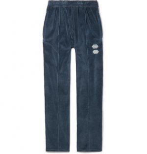 Off-White - Logo-Intarsia Cotton-Blend Velour Track Pants - Men - Blue
