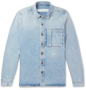 Off-White - Logo-Print Denim Shirt - Men - Blue