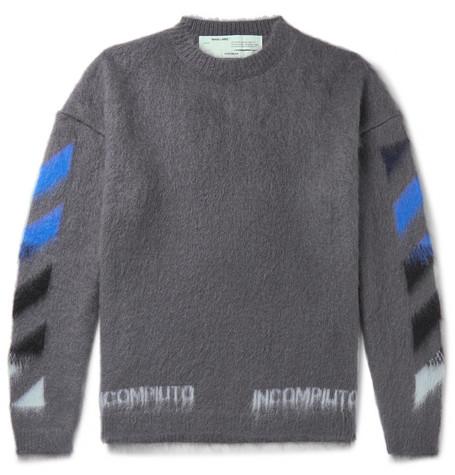 33058da271bb9c Off-White – Logo-Print Mohair-Blend Sweater – Men – Gray | The ...