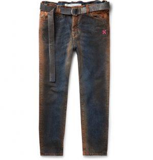 Off-White - Oil-Washed Denim Jeans - Men - Blue