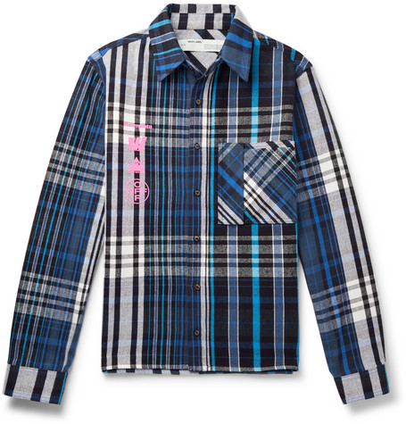 d2f7ceabf Off-White – Printed Checked Cotton-Blend Flannel Shirt – Men – Blue ...