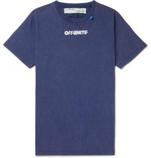 Off-White - Printed Cotton-Jersey T-Shirt - Men - Blue