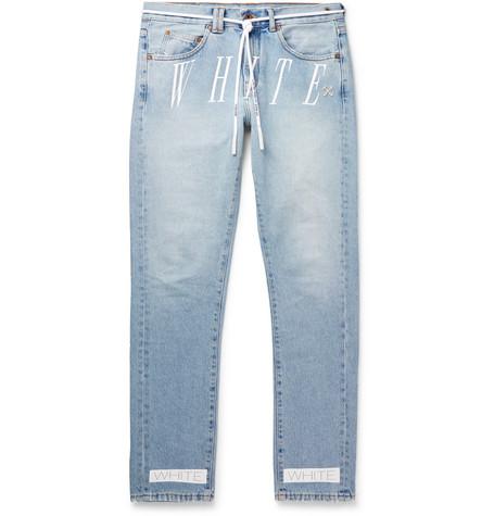 Off-White - Slim-Fit Logo-Print Denim Jeans - Men - Blue