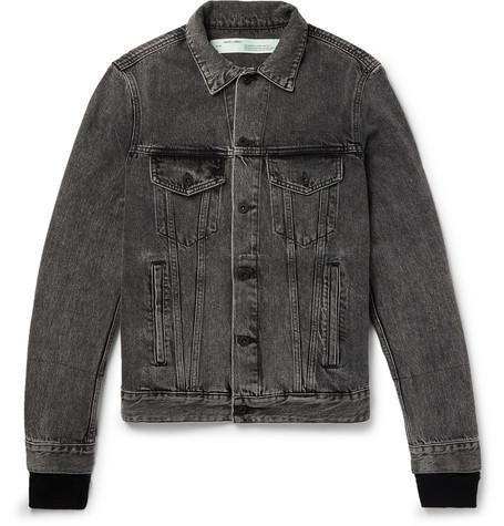 Off-White - Slim-Fit Panelled Denim and Printed Cotton-Jersey Jacket - Men - Black