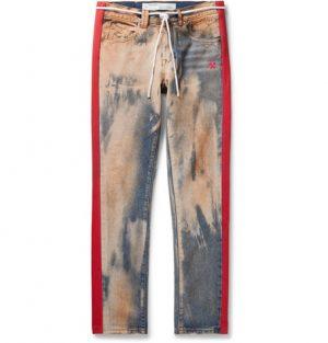 Off-White - Slim-Fit Striped Bleached Denim Jeans - Men - Blue