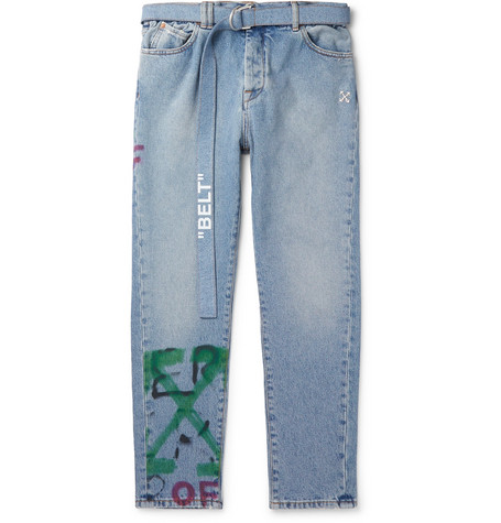 Off-White - Slim-Fit Tapered Belted Spray-Painted Denim Jeans - Men - Blue