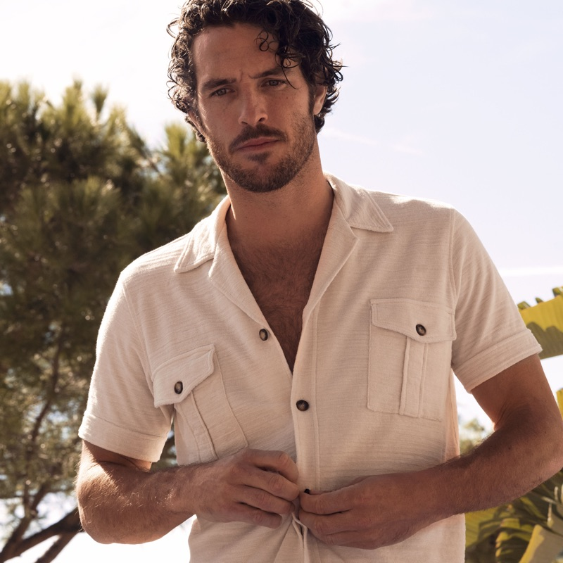 Top model Justice Joslin wears an Orlebar Brown Diamonds Are Forever toweling shirt $295.