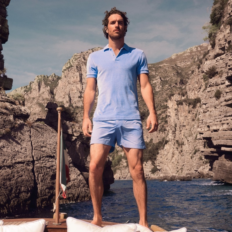 184ebfa4b8 Inspired by James Bond, Justice Joslin sports a Dr No toweling polo from Orlebar  Brown's