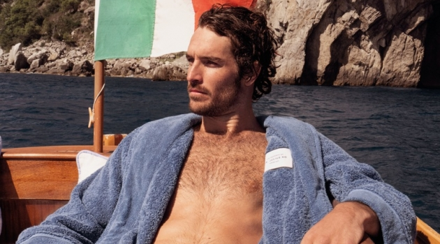Lounging, Justice Joslin wears an Orlebar Brown Dr No toweling robe $475.