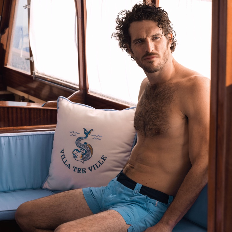 Justice Joslin wears Orlebar Brown Thunderball swim shorts $295 from its 007 collaboration collection.