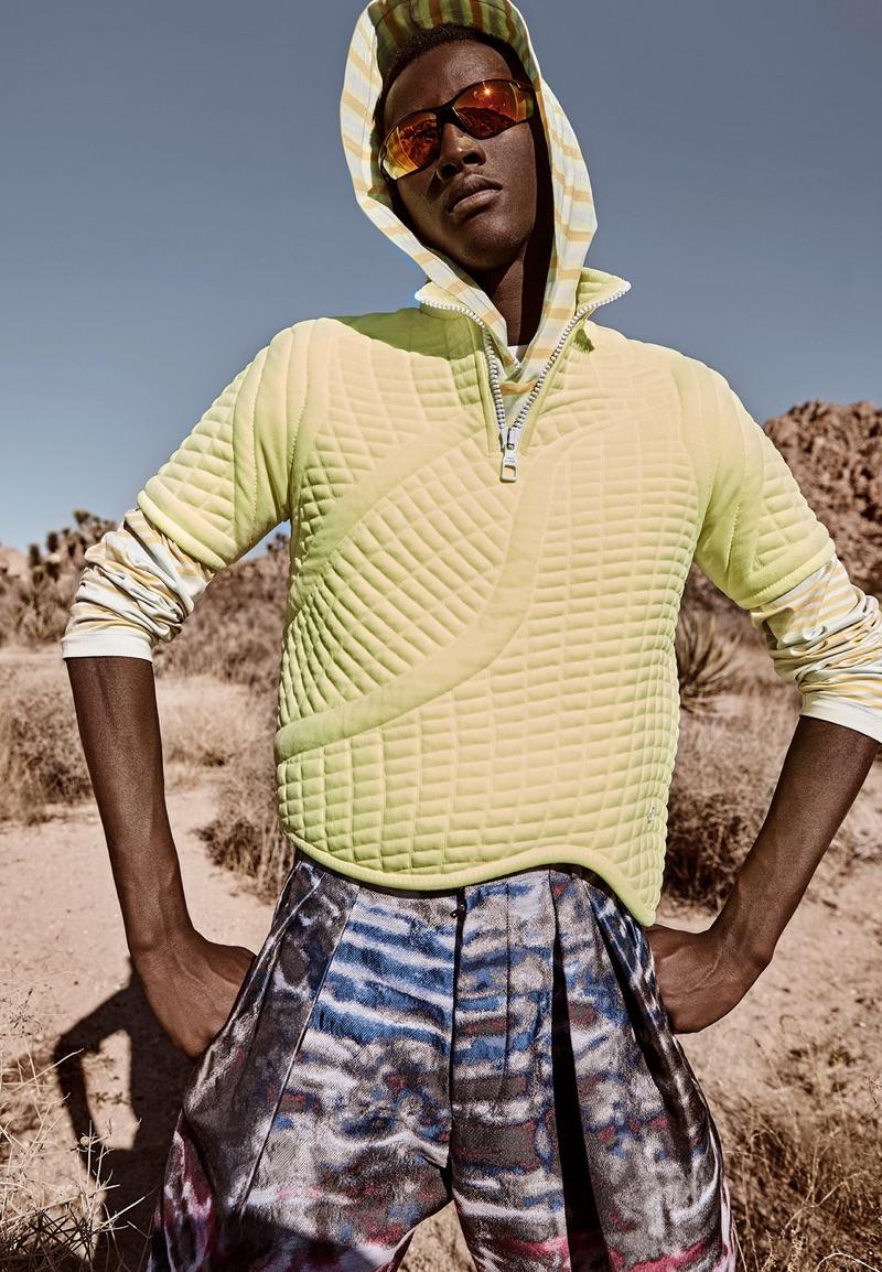 Oumar Diouf Hikes into Desert for Elle Men China