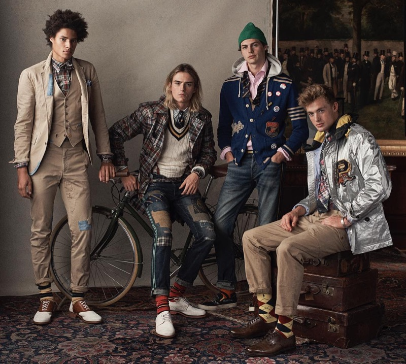 Models Johari Dramiga, Luke Eisner, Darwin Gray, and Lane McAllister don looks from POLO Ralph Lauren's spring-summer 2019 collection.