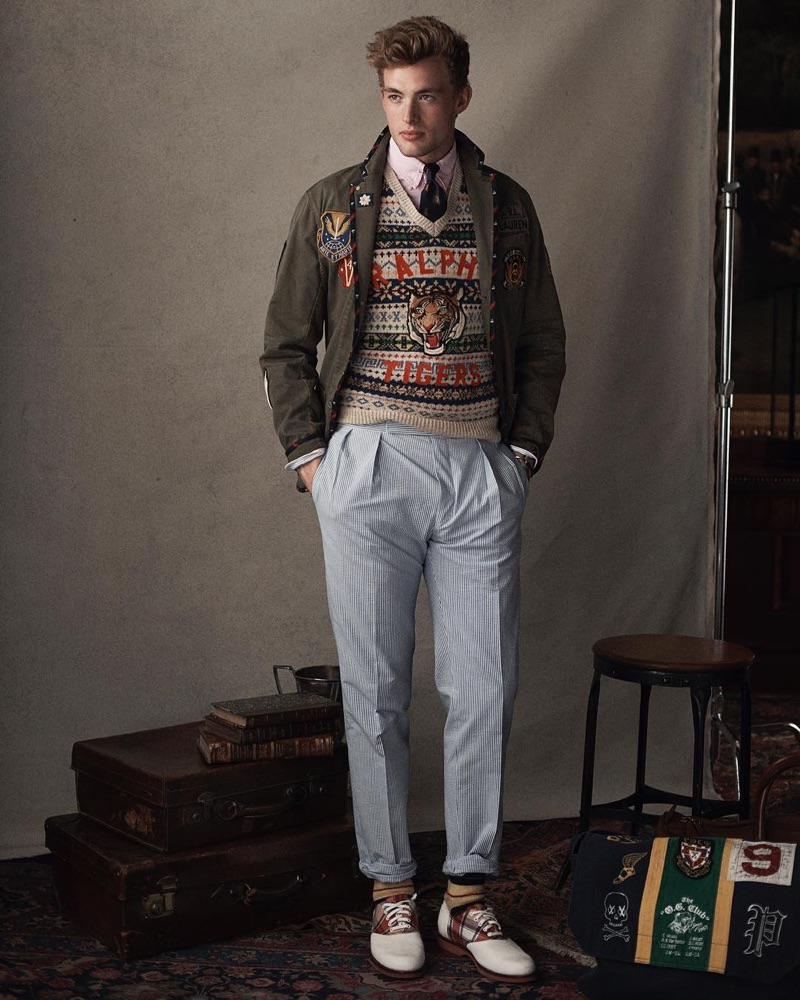 Lane McAllister sports a preppy sweater and other fashions from POLO Ralph Lauren.