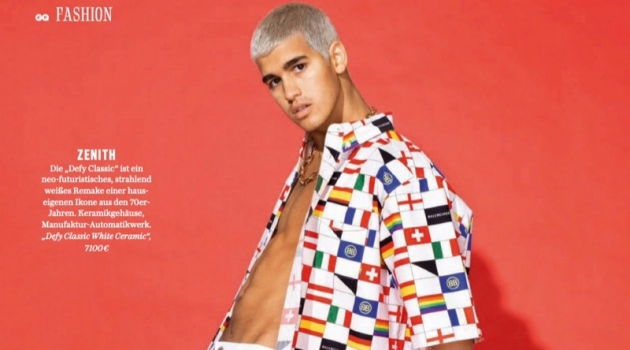 Pietro Baltazar Channels 80s Style in Graphic Shirts for GQ Germany