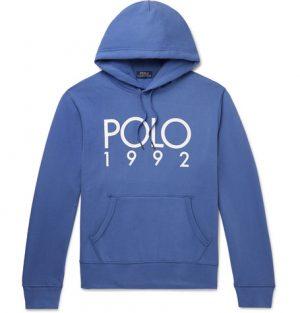 Polo Ralph Lauren - Logo-Print Fleece-Back Cotton-Blend Jersey Hoodie - Men - Blue