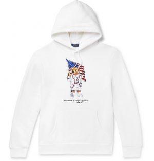 Polo Ralph Lauren - Printed Fleece-Back Cotton-Blend Jersey Hoodie - Men - White