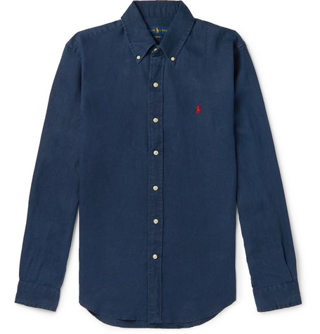 Polo Ralph Lauren - Slim-Fit Button-Down Collar Linen Shirt - Men - Navy