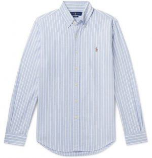 Polo Ralph Lauren - Slim-Fit Button-Down Collar Striped Cotton Oxford Shirt - Men - Blue
