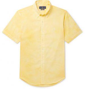 Polo Ralph Lauren - Slim-Fit Button-Down Collar Tie-Dyed Cotton-Poplin Shirt - Men - Yellow