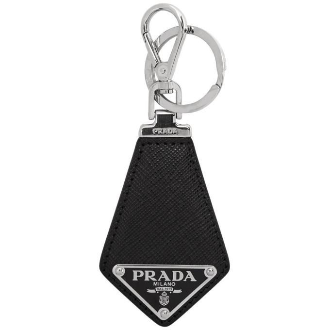 ccac3bb6 Prada Black Saffiano Logo Keychain