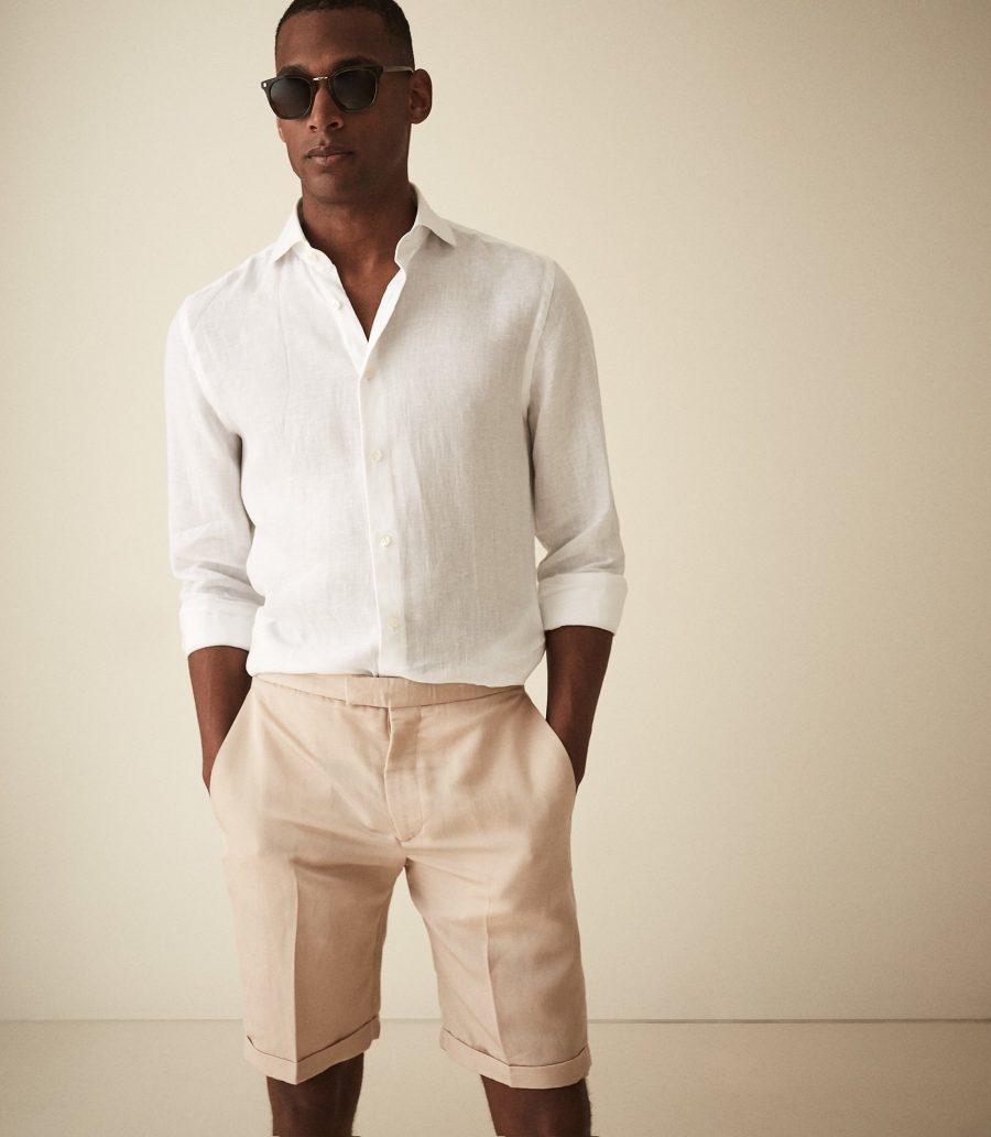 REISS Cash Linen Blend Tailored Shorts $160
