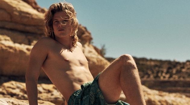 Model Biel Juste wears Reserved swim shorts.