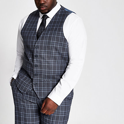 River Island Mens Big and Tall blue check suit vest