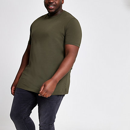 26421612c478 River Island Mens Big and Tall dark green muscle fit T-shirt   The  Fashionisto