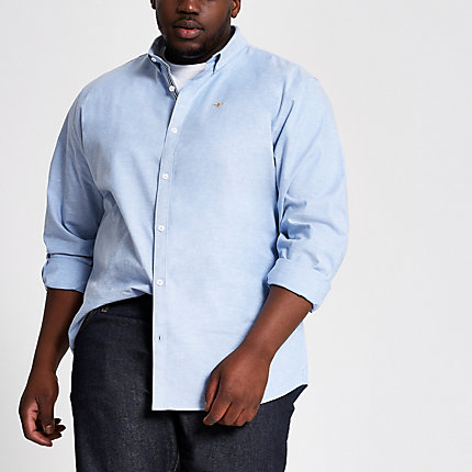 River Island Mens Big and Tall light blue Oxford shirt