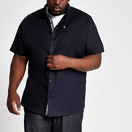 River Island Mens Big and Tall navy short sleeve Oxford shirt