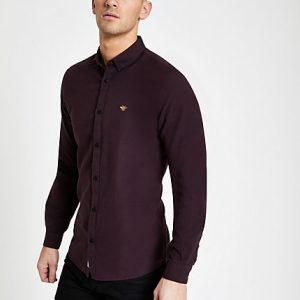 River Island Mens Burgundy grindle embroidered Oxford shirt