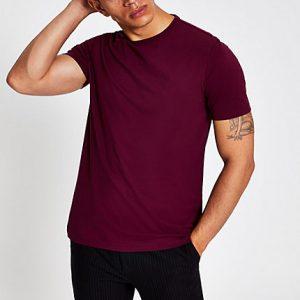 River Island Mens Dark red slim fit crew neck T-shirt